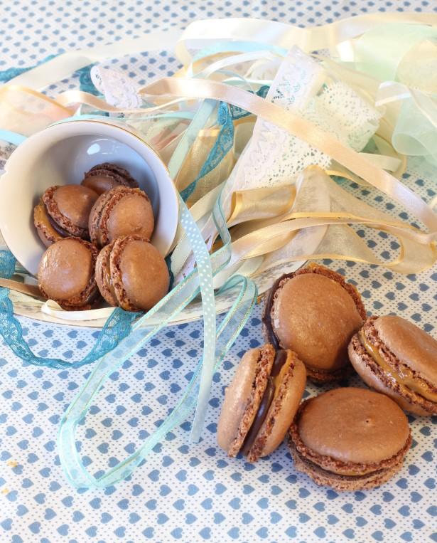 Double chocolate salted caramel macarons